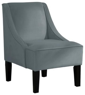 Swoop Upholstered Slipper Accent Chair Velvet Smoke
