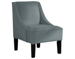 Swoop Upholstered Slipper Accent Chair, Velvet Smoke modern chairs