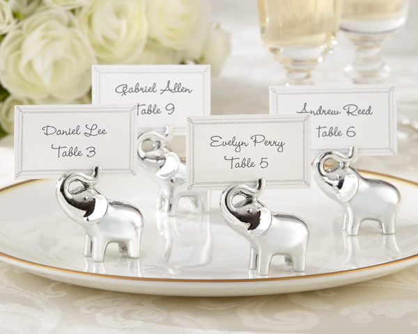 'Lucky in Love' Silver-Finish Lucky Elephant Place Card/Photo Holders contemporary-tabletop