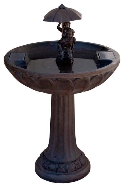 Umbrella Series Solar Fountain: Boy & Girl Piggyback modern-outdoor-fountains-and-ponds