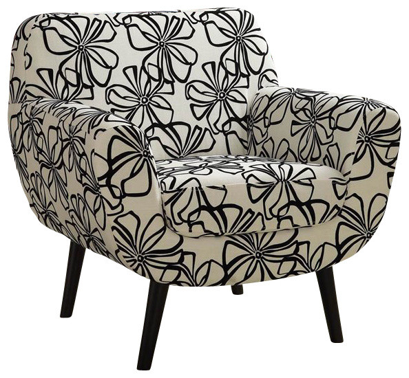 Armen Living Jetson Black/White Flower Club Chair modern-armchairs-and-accent-chairs