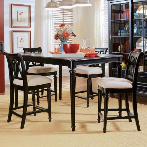 american drew camden black 5 pc counter height table set adl4343 contemporary dining sets. Black Bedroom Furniture Sets. Home Design Ideas