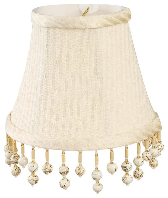 "5"" Bone on Bone Beaded Bell Chandelier Lampshade traditional-lamp-shades"