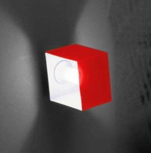 Domino One Light Wall Sconce in Metallic Gray with Red Glass modern-wall-lighting