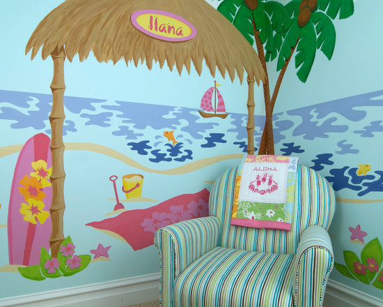 Tropical Kids Paradise - This paint-by-number wall mural was designed and painted to create a tropical feel in my granddaughter's room. It was designed to wrap around the corner of the room to give you the feel that you were IN the mural rather than just looking at it. It was also designed to go with Pottery Barn's Beach Bedding. Photo by Brent Newton Photography
