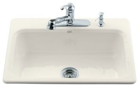 Bakersfield Self Rimming Kitchen Sink in Biscuit with Three Hole Faucet Drilling modern-bath-products