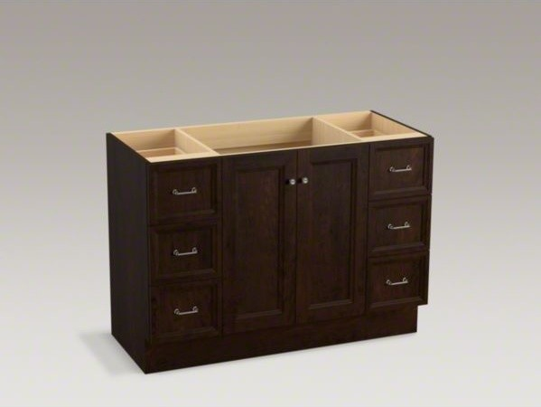 kohler damask tm 48 vanity with toe kick 2 doors and 6 drawers contemporary bathroom