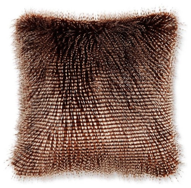 Faux Fur Pillow Cover Brown Owl Feather Eclectic