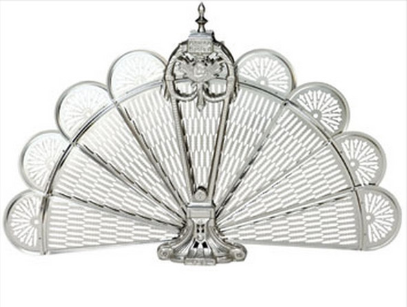 Pewter Finish Ornate Fan Fireplace Screen traditional-fireplace-screens