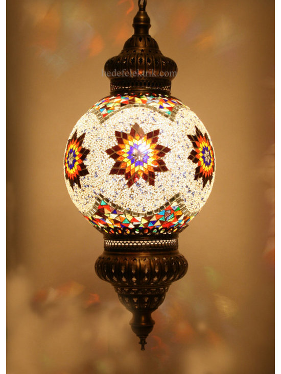 Turkish Style Mosaic Pendant Lamp 30 cm - Mosaic lamps are made of original colour of glasses. When the lamp is lit, the glasses cause colorful shades, which can suddenly change the ambiance of a room by its inspiring view. Noe of the glasses are painted nor applied a transaction. Each parts of the lamp are handmade.