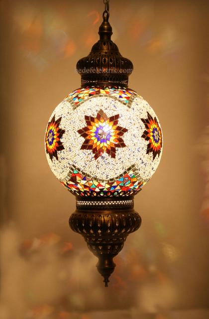 Turkish Style Mosaic Pendant Lamp 30 Cm Mediterranean