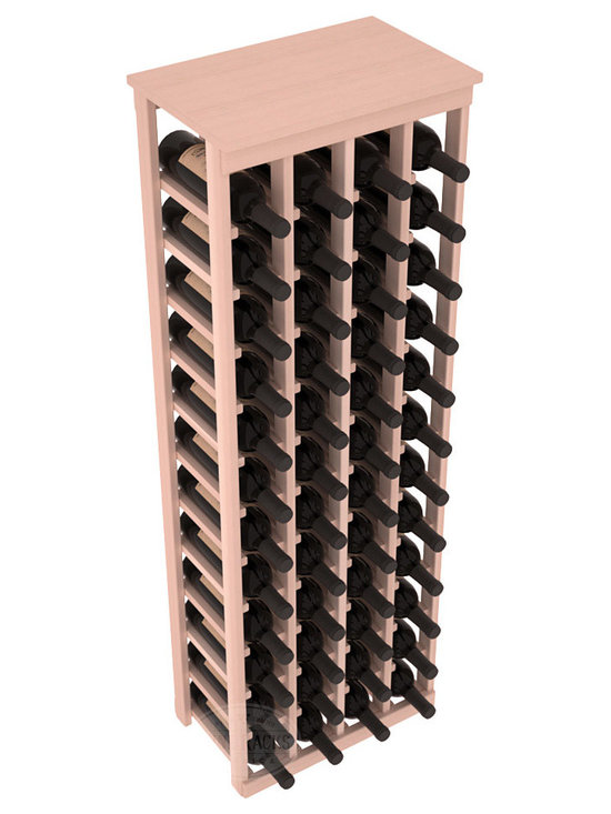 """48 Bottle Kitchen Wine Rack in Redwood with White Wash Stain - Store 4 complete cases of wine in less than 20"""" of wall space. Just over 4 feet tall, this narrow wine rack fits perfectly in hallways, closets and other """"catch-all"""" spaces in your home or den. The solid wood top serves as a shelf or table top for added convenience and storage of nick-nacks."""