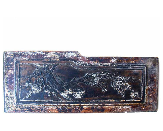 Chinese Furniture Panel - Vintage carved wood panel from rural China. From a set of hand-carved wood panels that have been popped out of various pieces of vintage furniture.