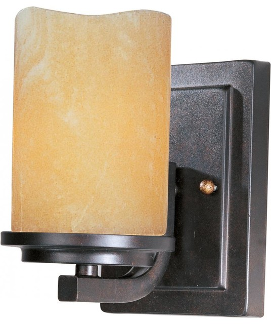 Clear Glass Candle Wall Sconces : One Light Rustic Ebony Stone Candle Glass Wall Light - Transitional - Wall Sconces - by We Got Lites