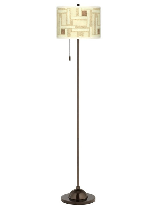 """Giclee Glow - Asian Organic Strands Giclee Glow Bronze Club Floor Lamp - Club floor lamp. Tiger bronze finish. Custom printed drum shade. Slim profile. On/off pull chain. Maximum 100 watt or equivalent bulb (not included). 62"""" high. 11"""" wide base. Shade is 13 1/2"""" across the top and bottom 10"""" high.        Club floor lamp.  Tiger bronze finish.  Custom printed drum shade.  Slim profile.  On/off pull chain.  Maximum 100 watt or equivalent bulb (not included).  62"""" high.  11"""" wide base.  Shade is 13 1/2"""" across the top and bottom 10"""" high."""