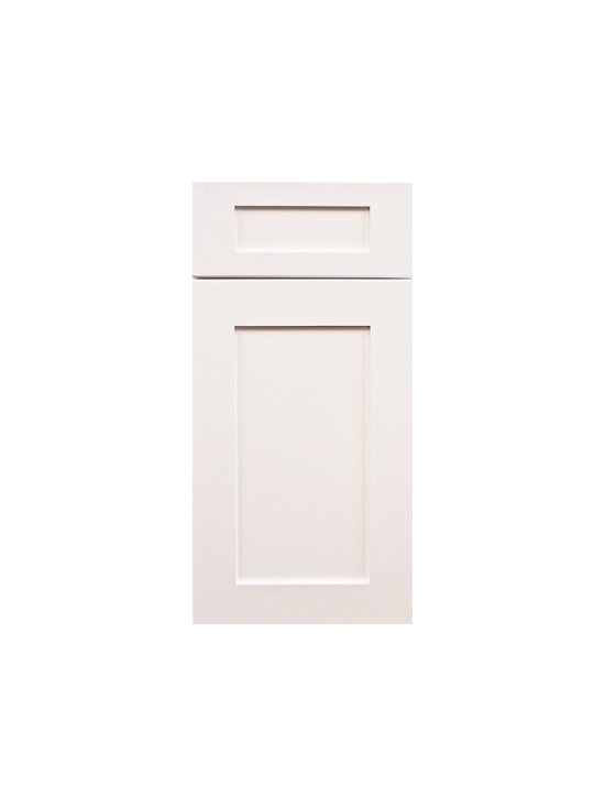 "ICE WHITE SHAKER / Assembled Kitchen Cabinets - Full Overlay Door Style - 3/4"" Solid Birch Face-Frame"