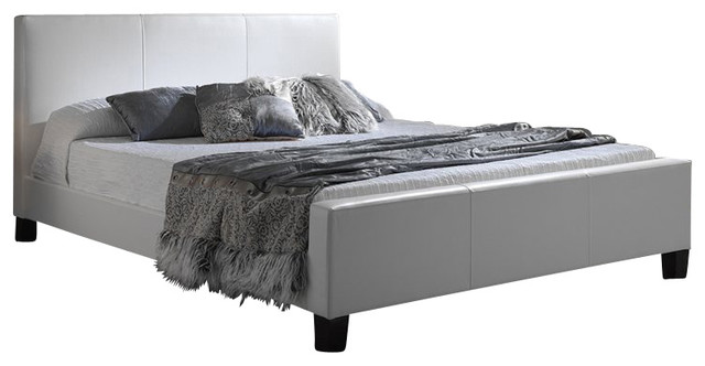 Fashion Bed Euro Leather Platform Bed in White Finish-King contemporary-beds