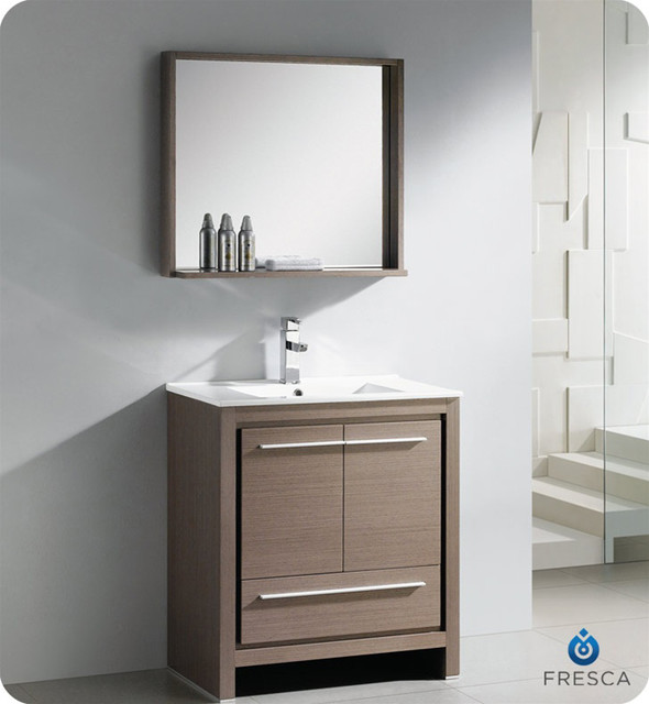 fresca allier 30 inch grey oak modern bathroom vanity with mirror contemporary bathroom