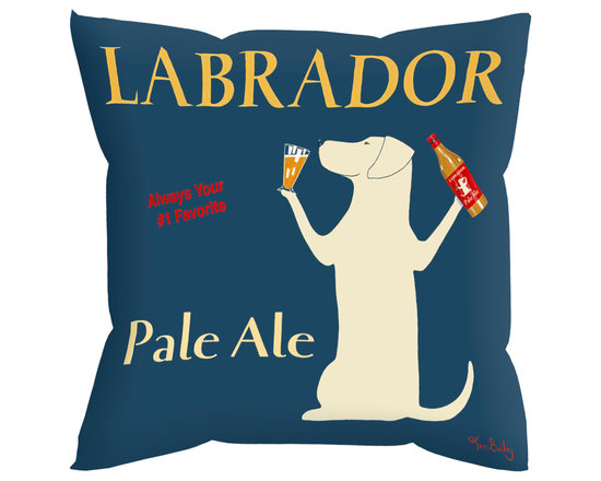 """Labrador Pale Ale Pillow - Labrador Pale Ale........ 18"""" x 18"""" pillow with concealed zipper and feather & down insert (95/5). 100% Eco friendly material printed with non toxic, non fading dyes. Front 100% polyester from recycled plastic bottles. Back 65% polyester from recycled plastic bottles; 35% organic cotton. Artwork by Ken Bailey and made in USA"""