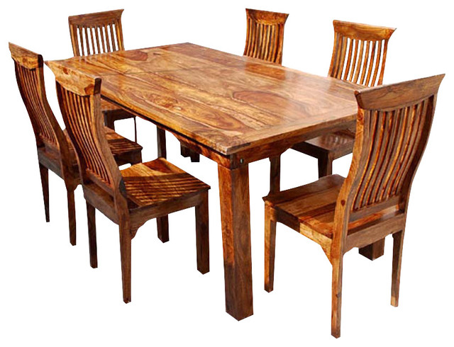 Rustic Solid Wood Dining Table & Chair Set Furniture rustic-dining-sets