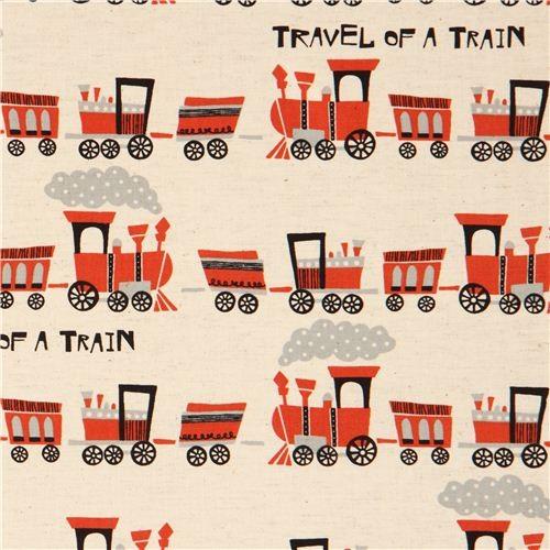 ecru train Canvas fabric by Kokka fabric