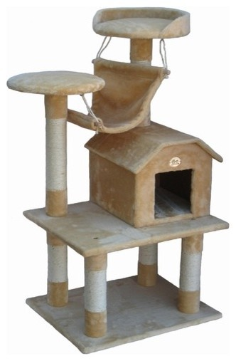 """50"""" Cat Tree Condo House in Beige modern-capitals-and-posts"""