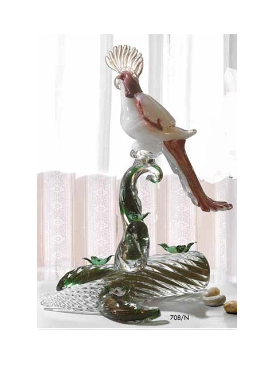 Murano Glass Sculptures and Figurines - Murano Glass line parrot - COA and made to order.  More available so please contact us