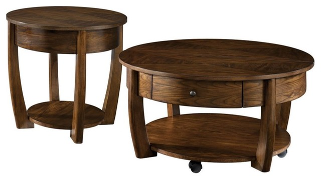 Hammary concierge 2 piece round coffee table set for Round coffee table sets