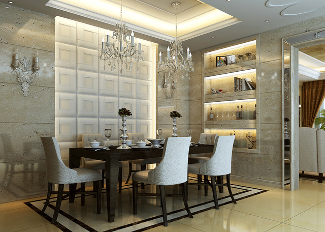 Leather tile panels from royal stone and tile in los for Dining room wall tiles designs