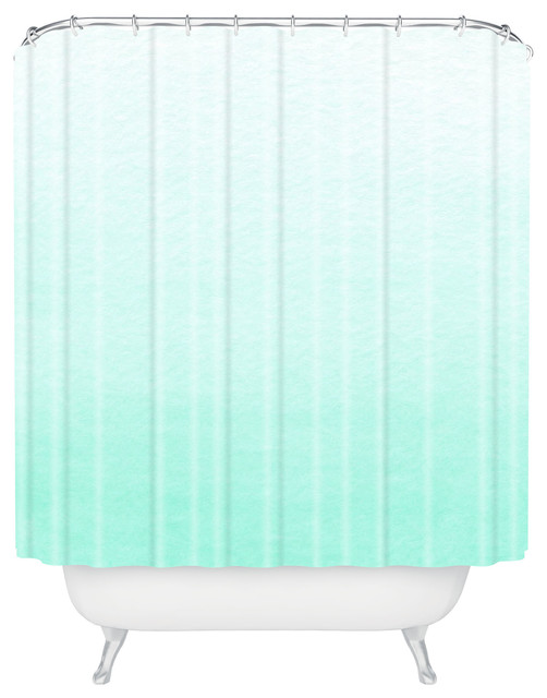 Social Proper Mint Ombre Shower Curtain beach-style-shower-curtains