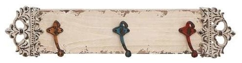 Metal Wall Hook in Rich Ivory Finish and Elegant Design rustic-hooks-and-hangers
