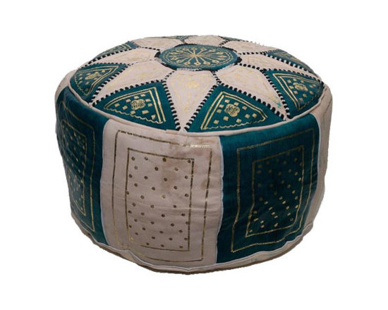 Leather Ottoman, Green -