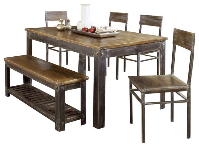 Modus Farmhouse 6 Piece Dining Room Set with Oxidized Finish Traditional