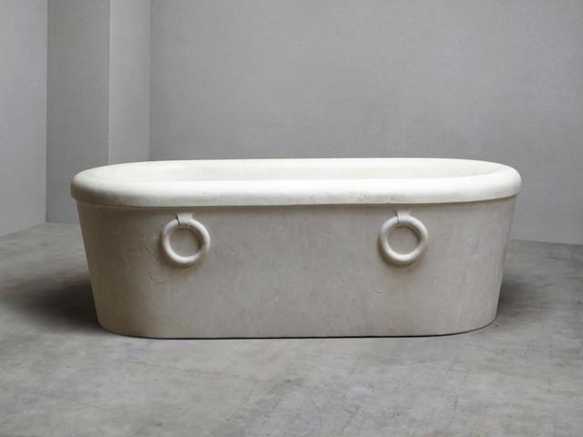 Italian roman moleanos limestone bath traditional for Limestone tub
