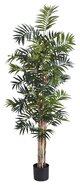 Nearly Natural 6' Bamboo Palm Silk Tree traditional-artificial-flowers-plants-and-trees