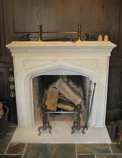 Limestone Notre Dame Fireplace traditional-family-room