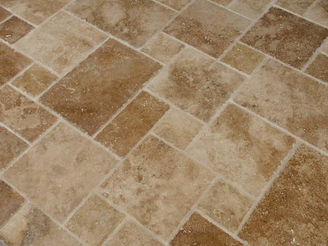 Noce French Pattern Distressed Edge Travertine Tile