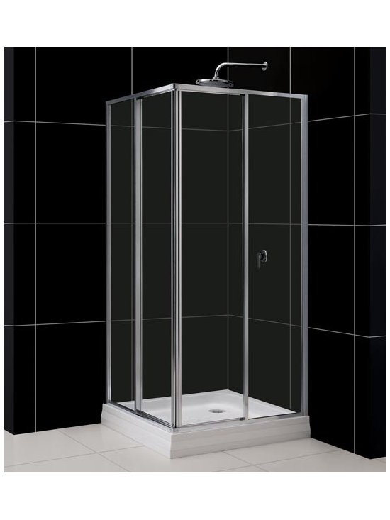 "DreamLine CornerView 35"" x 35"" Square Shower Enclosure SHEN-8134340 - The DreamLine™ CORNERVIEW shower enclosure is a simple yet elegant solution for a corner square shower. This shower enclosure, designed to be installed against tiled walls, is made of tempered glass combined with anodized chrome finish aluminum profiles. Two corner-opening sliding doors create the shower entry. The CORNERVIEW may be installed on a custom tiled floor or combined with an optional DreamLine™ acrylic shower base. Add a simple shower head or an advanced DreamLine™ shower column and create the Bathroom of Your Dreams™ with DreamLine™ shower enclosures."