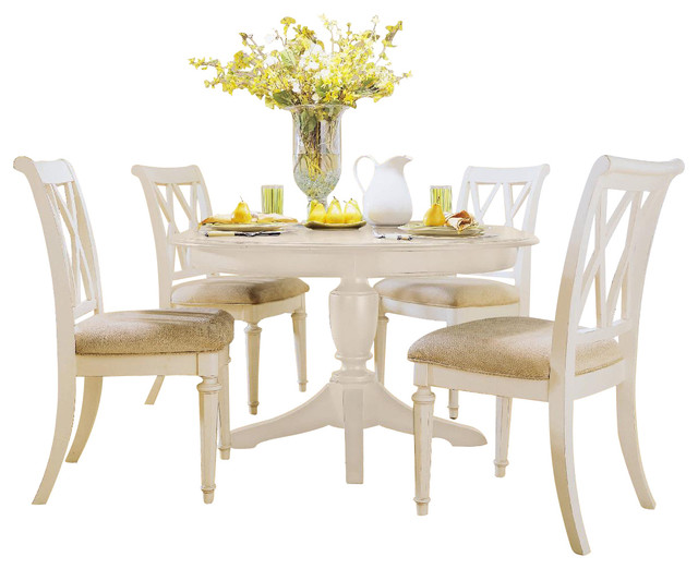 Round dining room set in white painted traditional dining sets