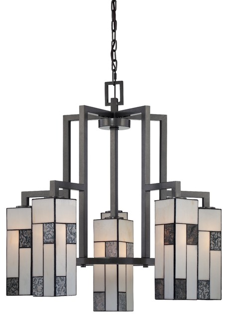 Art Deco Retro 6 Light Down Lighting Chandelier