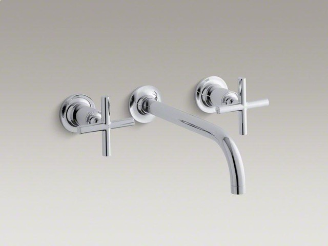 KOHLER Polished Chrome Purist® Wall-mount Bathroom Sink Faucet