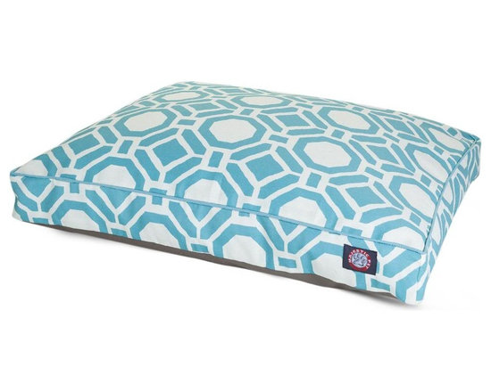 Majestic Pet Products - Santorini Sky Mosaic Large Rectangle Pet Bed - Show how much you care by giving your pet a bed that might be more comfortable than your own. The Majestic Pet Patterned Pet Bed is the perfect combination of style, function and comfort. It features a removable zippered slipcover that is woven from durable Outdoor Treated 10oz polyester, with 2500 hours of UV protection. The base of the bed is made of heavy duty waterproof 300/600 Denier fabric, which allows you to move your pet wherever you are, inside or out. Each bed is filled with a super plush fiberfill that provides ample amounts of comfort. To wash: Spot clean the slipcover with a mild detergent and hang dry.