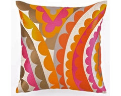 Vivacious Embroidered Linen Pillow - Pink by Trina Turk eclectic-pillows
