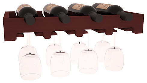 4 Bottle Scalloped Stemware Wine Rack in Redwood with Cherry Stain contemporary-wine-racks