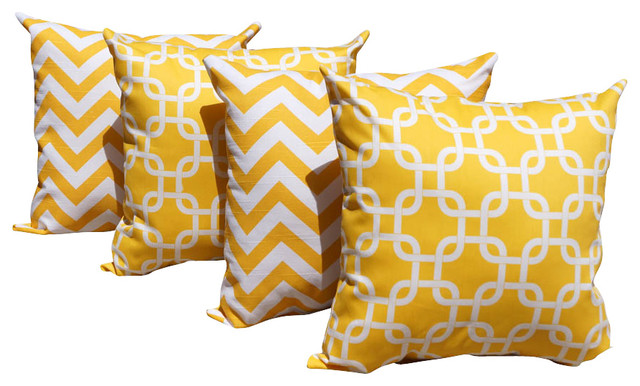 Zig Zag Chevron Yellow and Gotcha Corn Yellow Indoor Throw Pillows - Set Of 4 contemporary-decorative-pillows