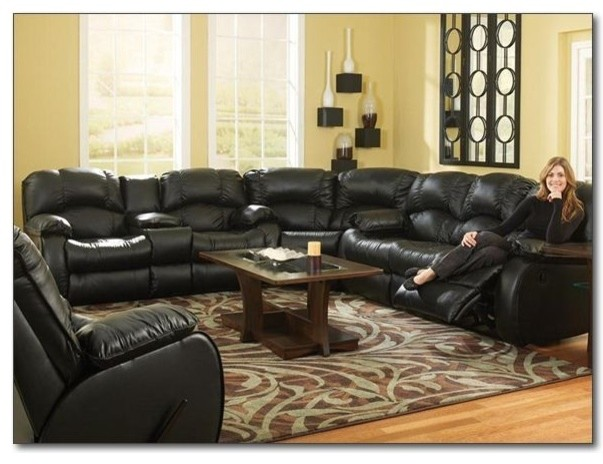 Recline Designs Furniture - Cooper Black Leather Reclining Sectional ...