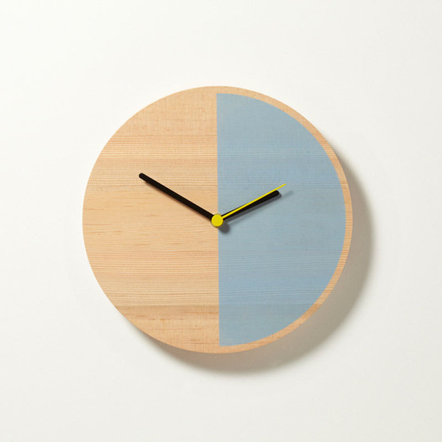 Primary Clock Half Light Blue Modern Wall Clocks By Theo