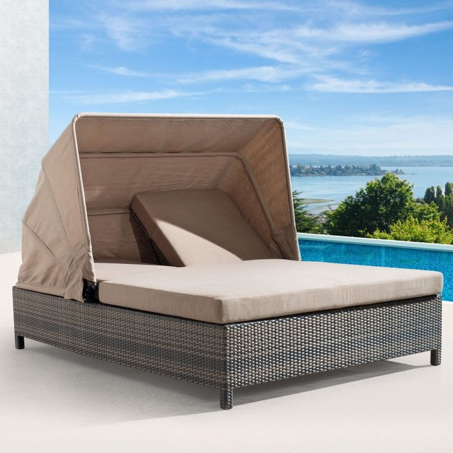 Zuo vive siesta key all weather wicker double chaise for All weather wicker chaise lounge