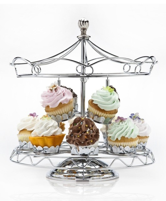 Revolving Carousel Cupcake Server, Holds 12 Cupcakes, Kitchen Accessory traditional-kitchen-products