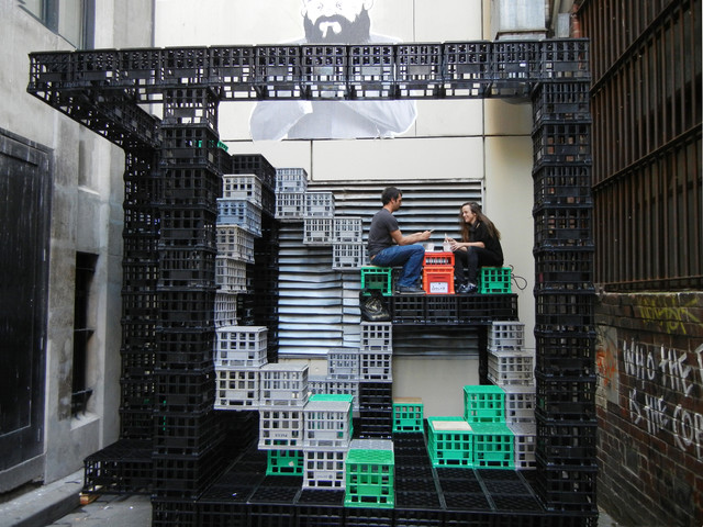 A Playground For Urban Dwellers Reuse Of Milk Crates